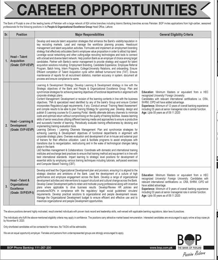 The Bank of Punjab BOP Lahore Jobs 2020