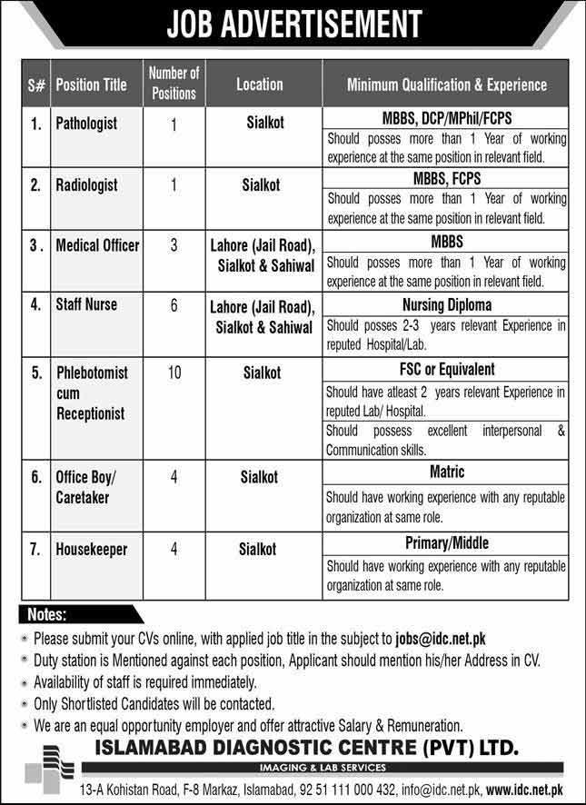 Islamabad Diagnostic Centre Jobs 2020
