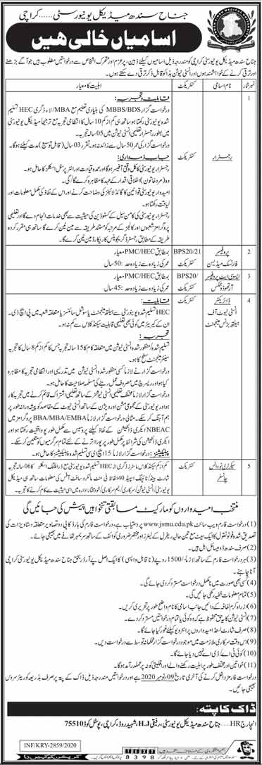 JSMU Karachi Jobs 2020