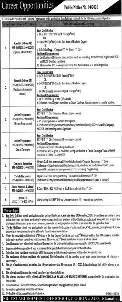P.O Box 3255 Islamabad Jobs 2020