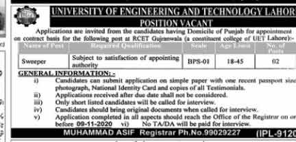 University of Engineering & Technology UET Jobs 2020